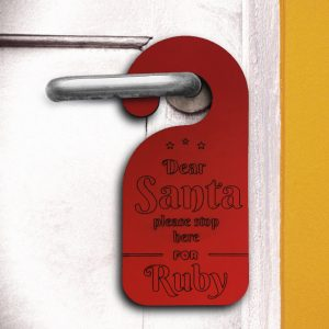 Door hanger Santa Please Stop Here for - personalized